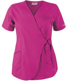 Butter-Soft Scrubs by UA™ Women's Wrap Scrub Top Electric Pink… Scrubs Outfit, Medical Uniforms, Medical Scrubs, Scrub Tops, Office Fashion, Work Attire, Blouse Styles, Dresses For Work, My Style