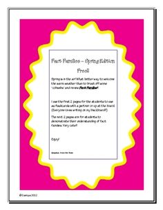 Enjoy these FREE Fact families pages!!!  I use the first 2 pages for the students to use as flashcards with a partner or up at the board. (Everyone loves writing on my blackboard!!)  The next 2 pages are for students to demonstrate their understanding of fact families. Very cute!!  Enjoy!