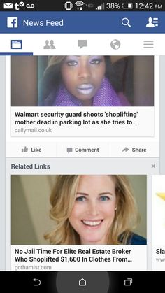 """Black mother allegedly shoplifts and gets shot and killed in front of her two children after an officer opened fire shooting into her vehicle, which the children were in at the time, all on suspicion. Her name was Shelley Frey. Rich white woman steals loads of clothing and ends up with community service and even her employer said they would continue """"to value highly her association with Warburg Realty"""". Also, she was not shot and killed."""