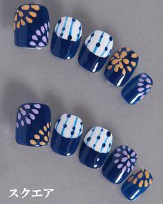 デザインネイルチップ・つけ爪ゆずネイル|ネイルチップ 濃ブルー 夏 浴衣(B01012-Q-NB)の販売|ゆずネイル公式通販
