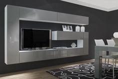 COMPOSICIÓN 23  Composición modular toda colgada con forma geométrica y acabados en alto brillo de líneas rectas de 300 cm.