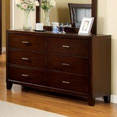 Enrico Solid Wood Brown Cherry Finish Bedroom Dresser *** For more information, visit image link. (This is an affiliate link)