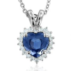 Heart Shaped Natural Sapphire and Diamond Necklace in 14k White Gold (G, SI2, 1.15 cttw) Certificate of Authenticity My Love Wedding Ring. $985.00. Save 54%!