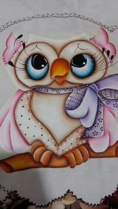 Coruja by Nazaré  Baue Tole Painting, Fabric Painting, Painting & Drawing, Owl Applique, Owl Pet, Owl Cartoon, Owl Pictures, Beautiful Owl, Baby Owls