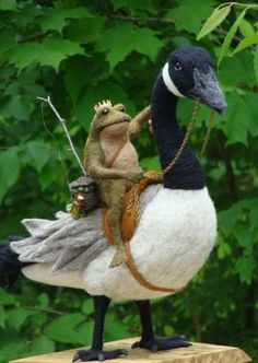 Needle Felted One of a kind Toad and Canada Goose by McBrideHouse