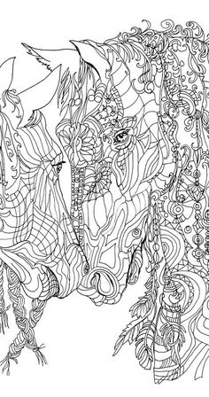 Coloring Pages Printable Adult Book Horse Clip Art Hand Drawn Original Zentangle By ValRa Davlin Publishing