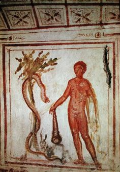 Hercules in the garden of the Hesperides | Unknown | 4th century | fresco | 33 1/2 x 33 1/2 in | Catacomb of the Via Latina, Rome, Italy