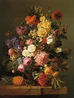 Jan Frans van Dael - Still Life with Flowers and a Pineapple