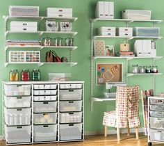 Shelving is a versatile solution to craft storage - Storage and Design Tips for a Craft Room - Sewing Room Organization, Craft Room Storage, Craft Rooms, Storage Ideas, Shelving Ideas, Wall Storage, Office Organization, Organized Office, Storage Units