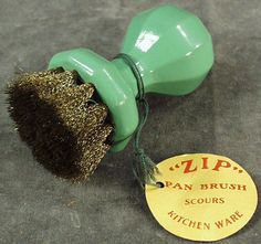 Old Zip Scouring Brush for the Kitchen... with a jadeite green handle.... so cute!