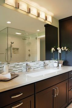 Anyone have a single trough sink faucets in master bathroom? Large Bathroom Sink, Bathroom Sink Design, Large Bathrooms, Bathroom Sink Faucets, Amazing Bathrooms, Seashell Bathroom, Bathroom Bin, Bathroom Ideas, Bathroom Trends