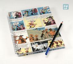 Libreta hecha a mano reciclando 4 páginas de un viejo comic de «Lucky Luke».