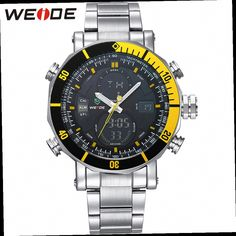 43.59$  Watch now - http://alim72.worldwells.pw/go.php?t=32604799001 - WEIDE Brand Watch Stainless Steel Band Sport Watch Men Clock Fashion Casual LCD Digital Male Military Quartz Wristwatch / WH5203 43.59$