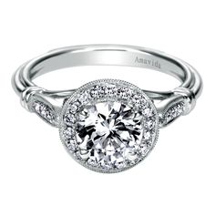 18K White Gold Victorian Halo Engagement Ring  GabrielNY.com