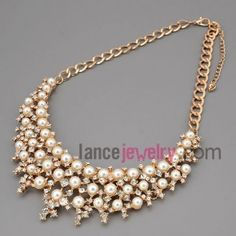 fabulous necklace with gold metal chain & alloy part decorate shiny rhinestone and abs beads