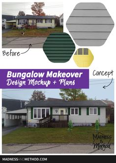 Thinking about sprucing up your house and front yard? This bungalow makeover mockup makes it easy to see what the house would look like with some paint! One Storey House, Green Shutters, Concrete Walkway, House Number Plaque, Architecture Plan, Interior Design Inspiration, Curb Appeal, Exterior Design, Mockup