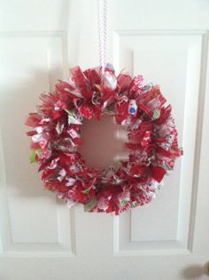 Christmas Fabric Rag Wreath Multi Print by RagWreathsbyMissVal, $40.00
