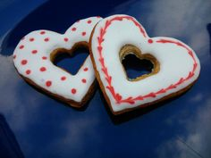 Valentine's hearts made of honey cookies.
