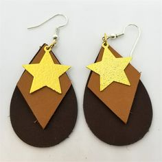 Layered Teardrop Brown and Tan Real Leather Earrings with Gold Star Charms by JennisTrends on Etsy