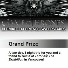 Entertainment Weekly: Win Your Game of Thrones Ultimate Experience!