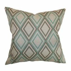 "Cotton pillow with a diamond motif and feather-down insert.   Product: PillowConstruction Material: Cotton cover and feather down fillColor: Robin's egg blue and grayFeatures:  Insert includedHidden zipper closureMade in the USA Dimensions: 18"" x 18"" Cleaning and Care: Spot clean"