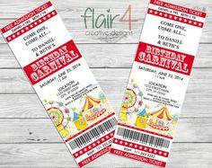 Imprimibles de circo/carnaval invitación invitación por FlairFour