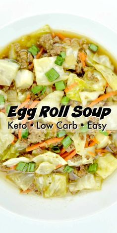 Keto Egg Roll Soup is low carb soup recipe that's perfect for those cold winter days! Keto Egg Roll Soup is low carb soup recipe that's perfect for those cold winter days! Low Carb Soup Recipes, Healthy Recipes, Ketogenic Recipes, Asian Recipes, Diet Recipes, Cooking Recipes, Recipes Dinner, Lunch Recipes, Low Carb Soups