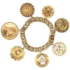 Midcentury 14 Karat Yellow Gold Disc Charm Bracelet For Sale 14k Gold Bracelet, Diamond Bracelets, Gemstone Bracelets, Charm Bracelets, Silver Bracelets, Ankle Bracelets, Silver Earrings, Bracelet Charms, Diamond Rings