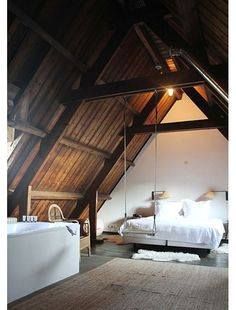 Attic Loft Bedrooms, Rustic Edition warm and lovely attic bedroom. and who doesn't need a swing by the bed!warm and lovely attic bedroom. and who doesn't need a swing by the bed! Barn Bedrooms, Bedroom Loft, Home Bedroom, Bedroom Decor, Dream Bedroom, Teen Bedroom, Design Bedroom, Loft Room, Attic Design