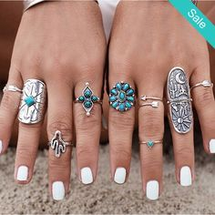 Cheap women ring set, Buy Quality ring set directly from China ring bohemian Suppliers: RAVIMOUR 9 pcs Women Rings Set Vintage Bague Femme Knuckle Finger Rings Bohemian Punk Boho Anel Feminino Blue Stone Aneis Turquoise Rings, Vintage Turquoise, Fashion Rings, Fashion Jewelry, Bohemian Rings, Vintage Bohemian, Bohemian Beach, Bohemian Gypsy, Ring Set
