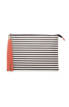 Navy Stripe Clutch Bag.... cover with translucent flowers for j.crew hack