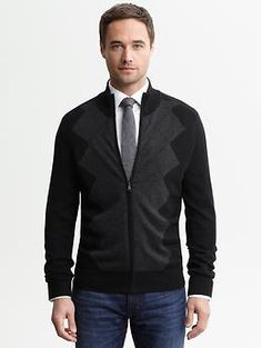 Birdseye argyle zip sweater | #BananaRepublic