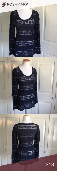 Express Navy Lace Top Navy blue lace long sleeve top. Worn once, perfect condition. Express Tops