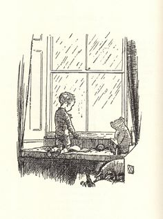 Waiting at the Window - Now We are Six, 1927:   These are my two drops of rain Waiting on the window-pane.  I am waiting here to see Which the winning one will be.  Both of them have different names. One is John and one is James.  All the best and all the worst Comes from which of them is first.