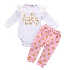 2PCS Newborn Baby Girl Clothes Cute Bebes Cotton Bodysuit Romper Gold Dot Pant Trouser Outfit Bebek Giyim Clothing Set 0-18M #>=#>=#>=#>=#> Click on the pin to check out discount price, color, size, shipping, etc. Save and like it!