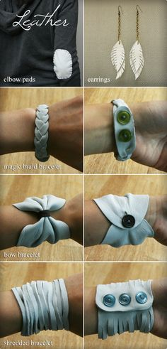Leather jewelry tutorial and leather elbow patch. (Not a direct link. Goes to the homepage of this AWESOME DIY blog, but will need to search for the leather tutorial.)