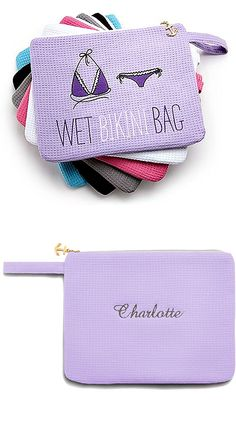 Cute Personalized Bikini Bag for bridesmaids or guest favors for a beach wedding :)