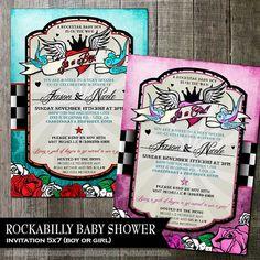 Rockabilly Baby Shower Invitation Rocker Baby by OddLotEmporium #rockabilly #printableinvites