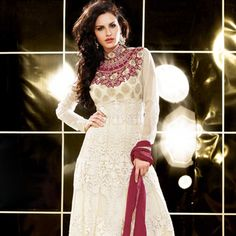 Cream Net Churidar Kameez
