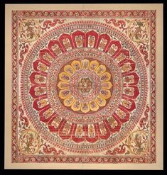 India, Bengal?, Sultanate period, Indian Silk Canopy, 1500s, silk; lampas weave, Overall: 186.70 x 175.70 cm