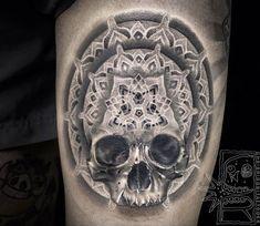 Perfect black and grey tattrx tattoo style of Mandala Skull motive done by artist Chris Rigoni | Post 16700 | World Tattoo Gallery - Best place to Tattoo Arts
