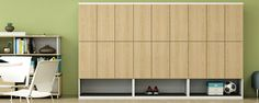 With an extensive statement of line, Haworth X Series steel casegoods offer highly durable and hugely flexible interior solutions; Open Plan, Design Elements, Lockers, Locker Storage, Interior, Outdoor Decor, Furniture, Desk, Decor Ideas