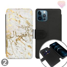 Arabic Marble Style 3 Collection Personalised Flip Wallet Phone Case (Leave Personalisation In Arabic) - 2