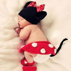 Fd5181Born Baby Crochet Knit Costume Minnie Mouse Photography Prop Outfit \