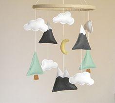 Handmade Nursery Mountains Baby Mobile, Baby Crib Mobile, Modern Nursery mobile…