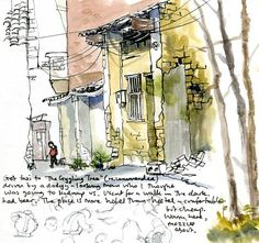 Travel sketchbook diary, London-Singapore by train: Chinese street, Yangshuo