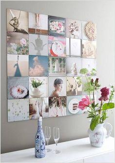 Декорирование стены при помощи оригинальных картонок, что воедино созданы как единое панно.