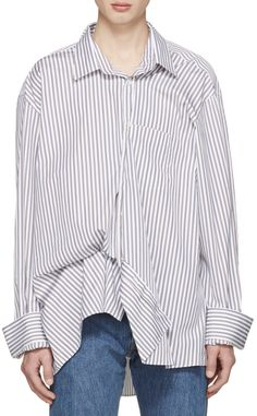 Vetements Brown & Navy Comme des Garçons Shirt Edition Asymmetric Packshot Shirt   from SSENSE (men, style, fashion, clothing, shopping, recommendations, stylish, menswear, male, streetstyle, inspo, outfit, fall, winter, spring, summer, personal)