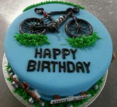 Bicycle themed birthday cake