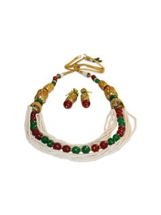 REGAL BEADED SET by designer Sobayha Accessories from sobayha.com. A beautiful set, with contrasting colours of green and red, with pearl detailing and antique gold beads. See more at: https://www.sobayha.com/catalogue/regal-beaded-set_105/